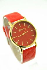 GENEVA Czerwony zegarek damski na pikowanym pasku