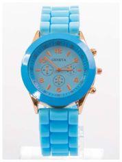GENEVA Niebieski zegarek damski na silikonowym pasku