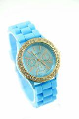 GENEVA Niebieski zegarek damski z cyrkoniami na silikonowym pasku