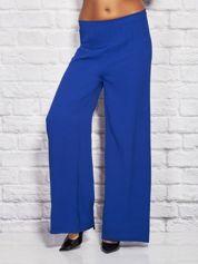 Gładkie luźne marszczone spodnie kobaltowe