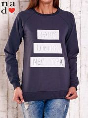 Grafitowa bluza z napisem PARIS LONDON NEW YORK