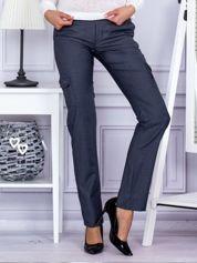 Grafitowe materiałowe spodnie z kieszeniami na nogawkach