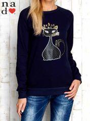 Granatowa bluza z cekinowym kotem