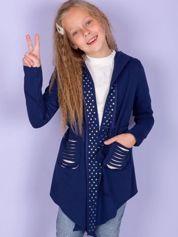 Granatowa dresowa narzutka dla dziewczynki z cekinami