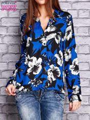 Granatowa koszula z motywem kwiatowym