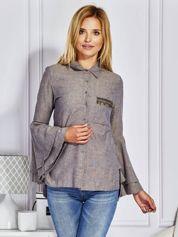 Granatowa koszula z ozdobną kieszenią