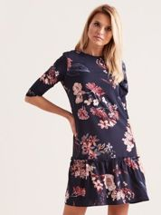 Granatowa kwiatowa sukienka z falbaną