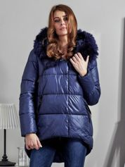 Granatowa pikowana kurtka z asymetrią