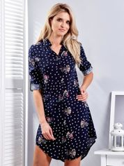 Granatowa sukienka koszulowa w drobny kwiatowy wzór