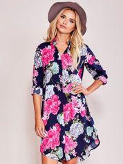 Granatowa sukienka koszulowa w duże kwiaty
