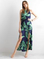 Granatowa sukienka maxi z rozcięciami