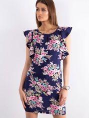 Granatowa sukienka w kwiaty z falbanami na rękawach