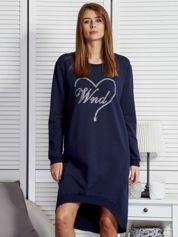 Granatowa sukienka z aplikacją z dżetów
