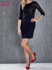Granatowa sukienka z czarnym wykończeniem