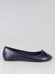 Granatowe baleriny classic leather z kokardką ze skóry saffiano