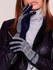 Granatowe eleganckie rękawiczki ocieplane ze wzorem