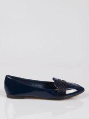 Granatowe lakierowane mokasyny penny loafers