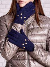 Granatowe rękawiczki z ćwiekami i ściągaczem