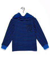 Granatowo-niebieska bluza chłopięca w paski z kapturem