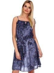 Granatowo-szara sukienka w drobne kwiatki