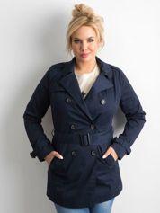 Granatowy płaszcz typu trencz