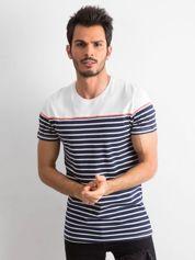 Granatowy t-shirt męski w paski