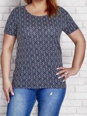 Granatowy wzorzysty t-shirt PLUS SIZE