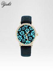 Granatowy zegarek damski na błyszczącym paski z cyrkoniami na kopercie