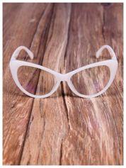 HIT 2016 ECRU Modne okulary zerówki typu KOCIE OCZY w stylu Marlin Monroe;soczewki ANTYREFLEKS+system FLEX na zausznikach