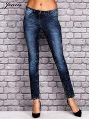 JEANS Ciemnoniebieskie dekatyzowane spodnie jeansowe