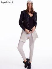 Jasnobeżowe dekatyzowane spodnie dresowe BY O LA LA