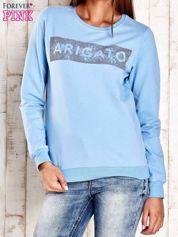 Jasnoniebieska bluza z napisem ARIGATO