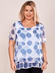 Jasnoniebieska bluzka mgiełka w kolorowe wzory PLUS SIZE