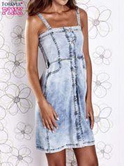 Jasnoniebieska dekatyzowana sukienka jeansowa z kieszeniami