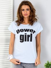 Jasnoniebieski t-shirt POWER GIRL