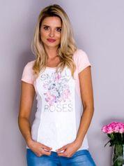 Jasnoróżowy t-shirt SMELL ROSES