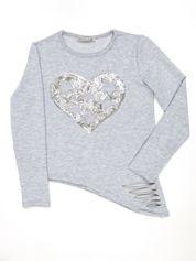 Jasnoszara asymetryczna bluzka dziewczęca z cekinowym sercem
