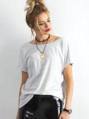 Jasnoszary melanżowy t-shirt z dekoltem na plecach