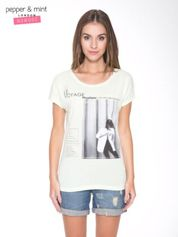 Jasnozielony  t-shirt z nadrukiem fashion