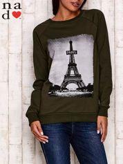 Khaki bluza z motywem Wieży Eiffla