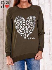 Khaki bluza z nadrukiem serca i napisem JE T'AIME