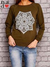 Khaki bluza z ornamentowym nadrukiem