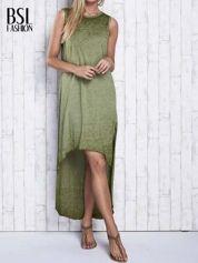Khaki dekatyzowana sukienka maxi z dłuższym tyłem