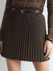 Khaki plisowana spódnica z paskiem