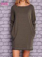 Khaki sukienka oversize z kieszeniami