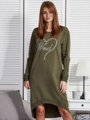 Khaki sukienka z aplikacją z dżetów