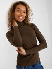 Khaki sweter ze ściągaczami i golfem