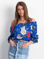Kobaltowa bluzka hiszpanka floral print