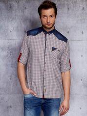 Koszula męska z denimowymi modułami PLUS SIZE