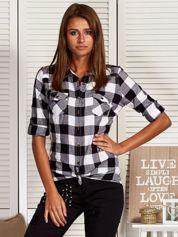 Koszula w kratę z guzikami czarna